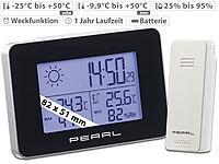 PEARL Wetterstation mit Funkwecker, ... und Funk-Außensensor