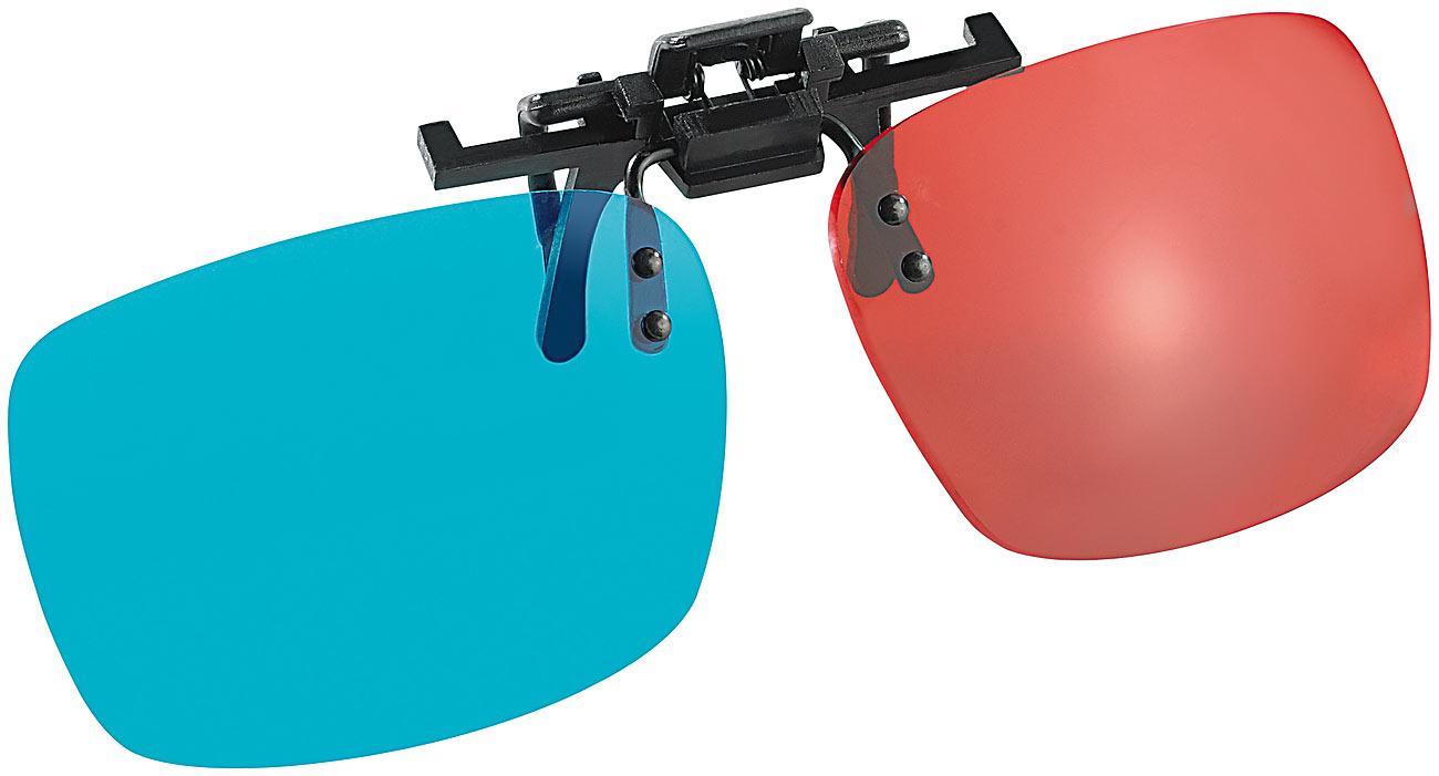 Somikon 3D-Aufsatz für Brillenträger, Anaglyphen-Technologie, Rot/Cyan