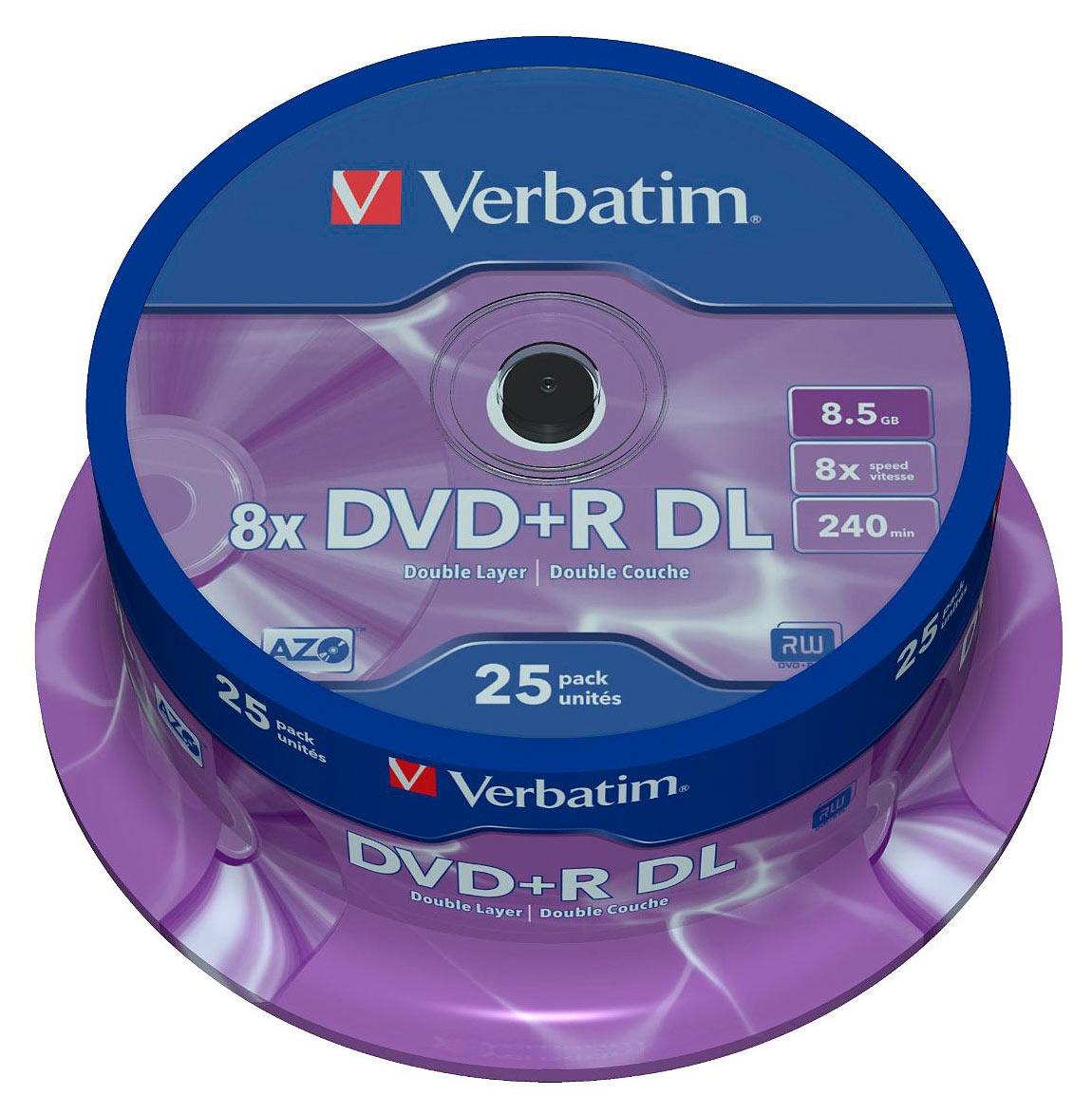 Verbatim DVD+R 8,5GB, 8x Double Layer printable, 25er-Spindel