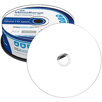 MediaRange Blu-ray-Rohling BD-R 25GB printable 4x, 25er-Spindel