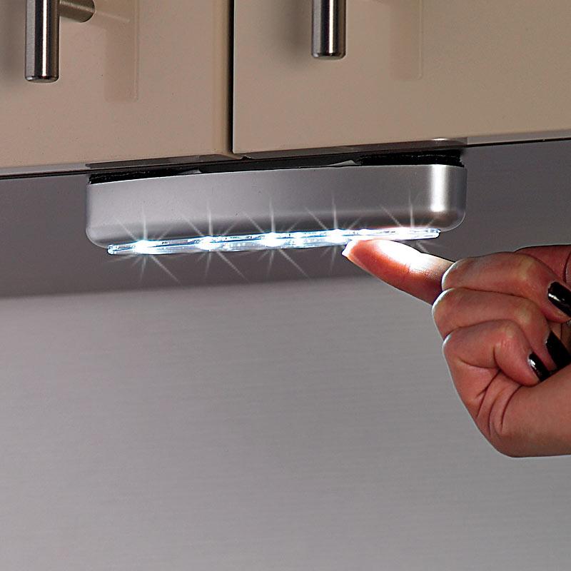 schranklampen stick 39 n 39 push light silver giant 4er set led schrankleuchten ebay. Black Bedroom Furniture Sets. Home Design Ideas
