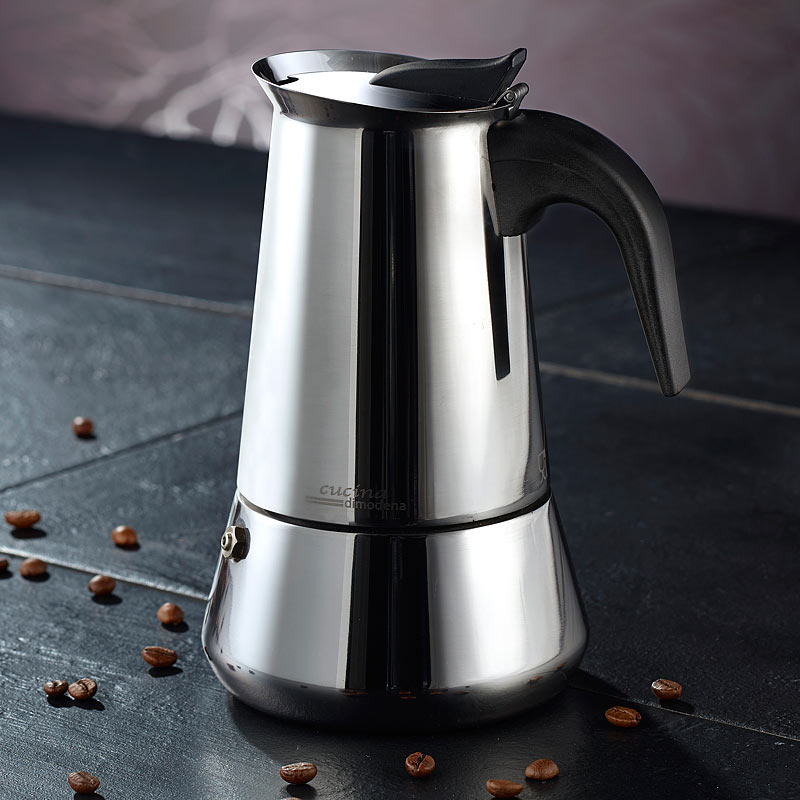 espressokanne edelstahl espressokocher f r 6 tassen f r induktion gas ceran ebay. Black Bedroom Furniture Sets. Home Design Ideas