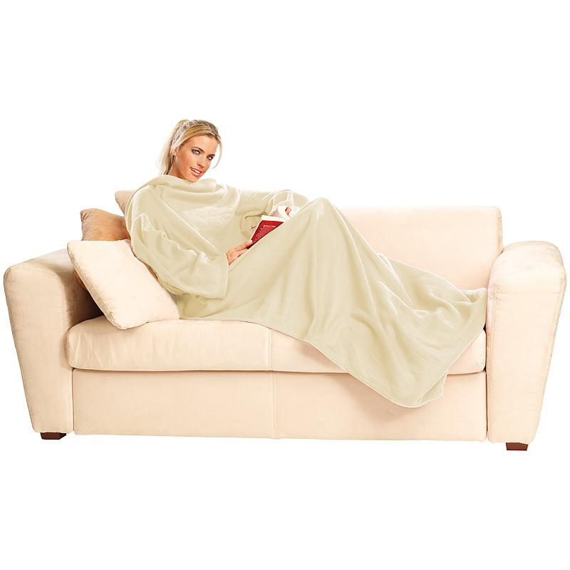 Decke ärmel: Decke Mit Ärmel: Fleece-Kuscheldecke Mit Ärmeln, Beige