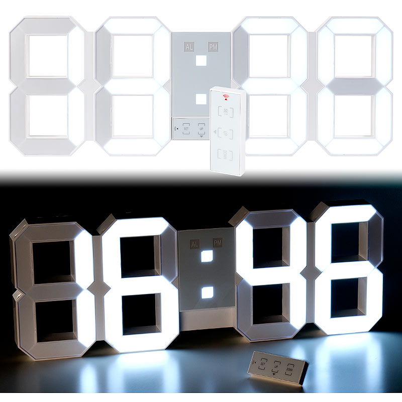 lunartec digitale xxl led tisch wanduhr 45 cm dimmbar wecker fernbedien ebay. Black Bedroom Furniture Sets. Home Design Ideas
