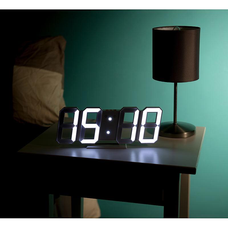 led uhr digitale jumbo led tisch wanduhr 3d wecker dimmbar 28 cm ebay. Black Bedroom Furniture Sets. Home Design Ideas