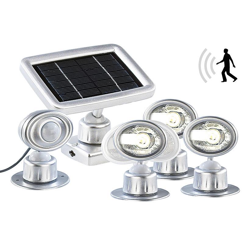 led lampe mit solarpanel 3 led strahler mit solar panel pir bewegungsmelder 4022107105361 ebay. Black Bedroom Furniture Sets. Home Design Ideas