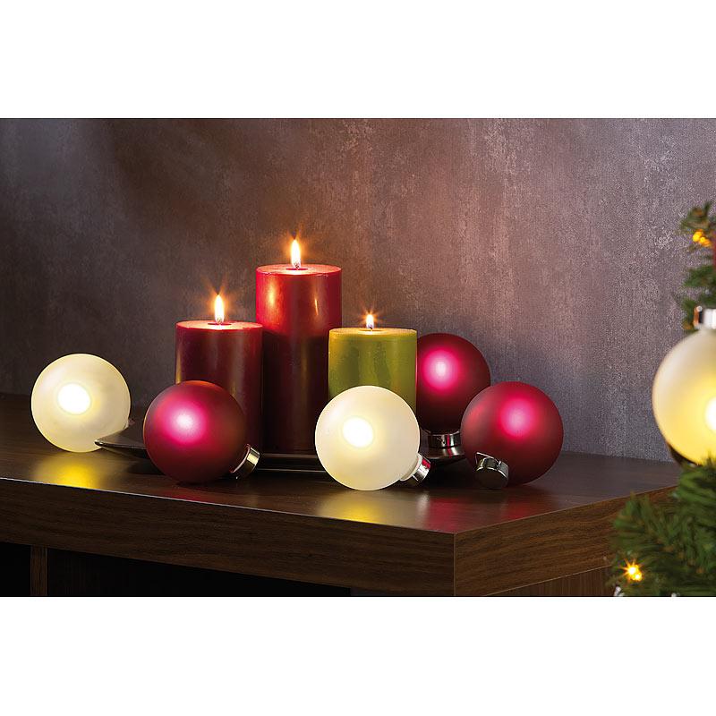 Lunartec beleuchtete weihnachtsbaum kugeln aus glas mit fernbed 6 st ck wei ebay - Glas mit kugeln dekorieren ...