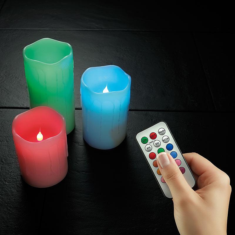 batteriekerzen echtwachskerzen mit farbwechsel led fernbedienung 3er set ebay. Black Bedroom Furniture Sets. Home Design Ideas