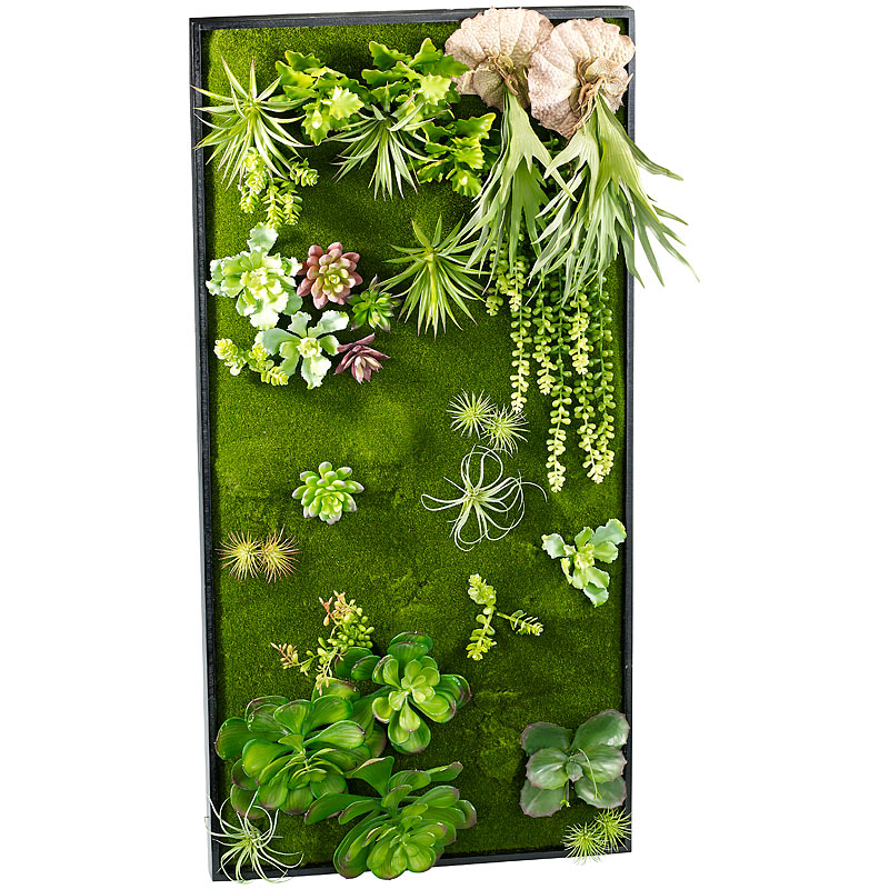 Gr ne wand vertikaler wandgarten klaus mit deko pflanzen for Pflanzen deko wand