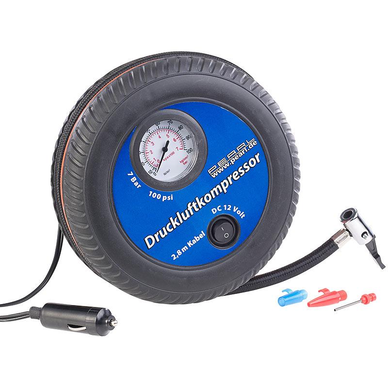 100 psi Manometer Lescars Mobiler Luft-Kompressor 3 Adapter 288 Watt 12 V