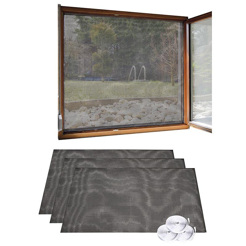 infactory 3er Set Fliegengitter für Fenster, 130 x 150 cm inkl. 6 m ...