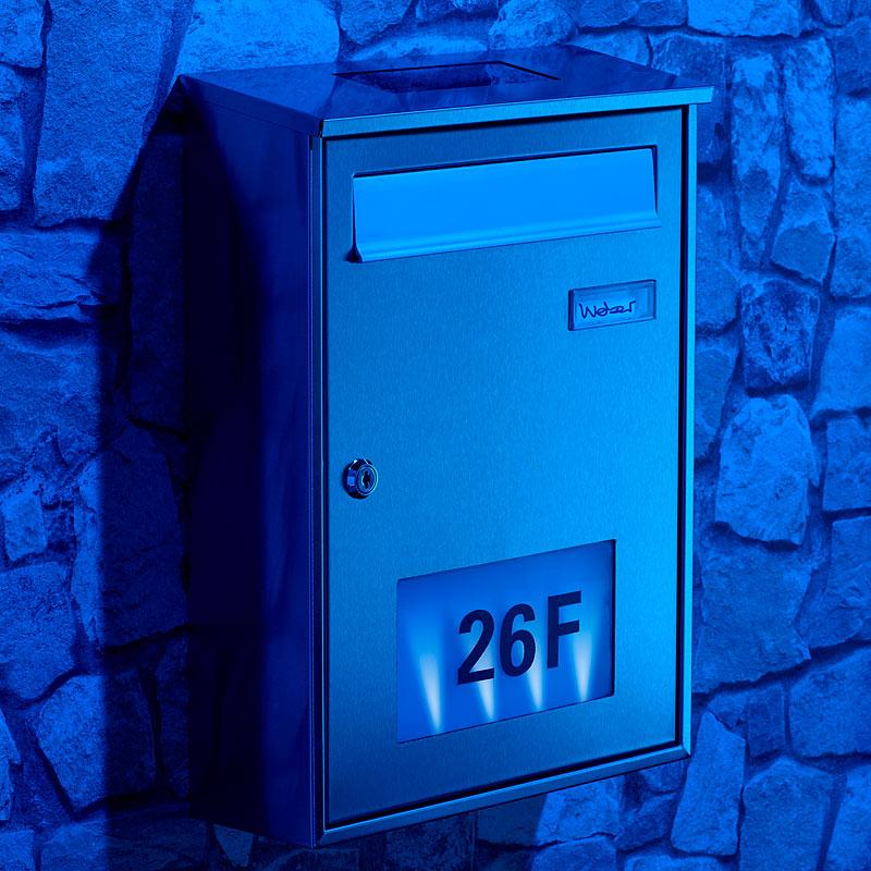 briefkasten beleuchtet edelstahl briefkasten mit solar leucht hausnummer buggingen 79426. Black Bedroom Furniture Sets. Home Design Ideas