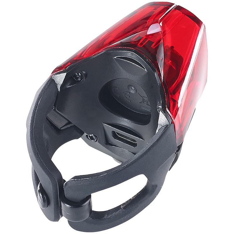 fahrradbeleuchtung led fahrradr cklicht mit akku zugelassen nach stvzo ipx4 ebay. Black Bedroom Furniture Sets. Home Design Ideas