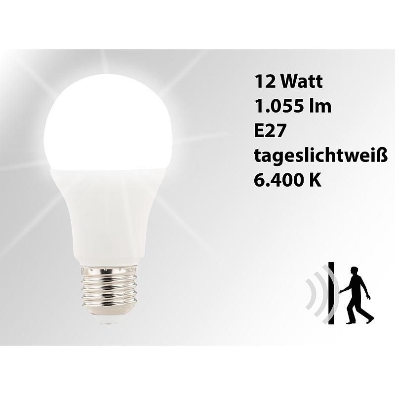 luminea led lampe mit radar bewegungssensor 12 w e27 tageslichtwei k ebay. Black Bedroom Furniture Sets. Home Design Ideas
