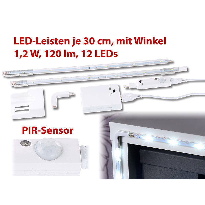 lunartec 2er set led leisten mit winkel verbindung pir sensor 120 lm 12 leds ebay. Black Bedroom Furniture Sets. Home Design Ideas