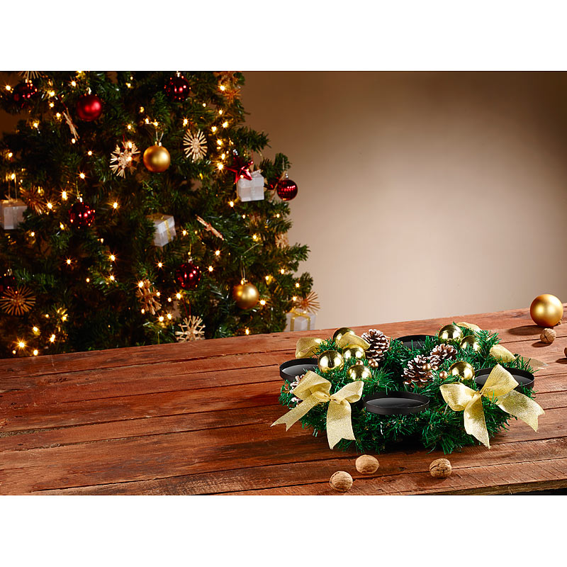 britesta adventskranz golden 4 rote led kerzen mit bewegter flamme ebay. Black Bedroom Furniture Sets. Home Design Ideas