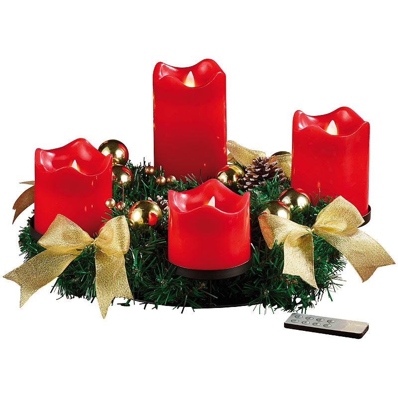 britesta adventskranz golden 4 rote led kerzen mit bewegter flamme ebay. Black Bedroom Furniture Sets. Home Design Ideas