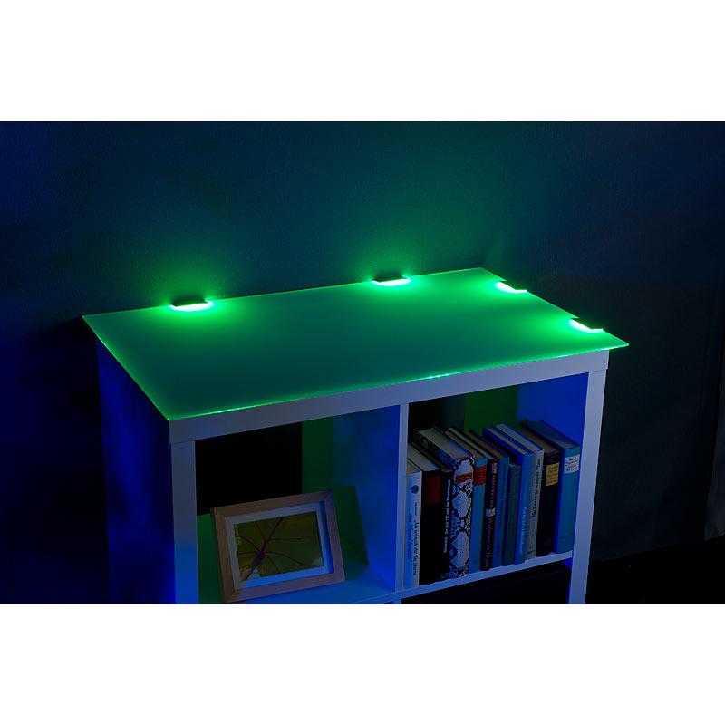 lunartec led glasbodenbeleuchtung mit fernbedienung 4 klammern mit 12 rgb leds ebay. Black Bedroom Furniture Sets. Home Design Ideas