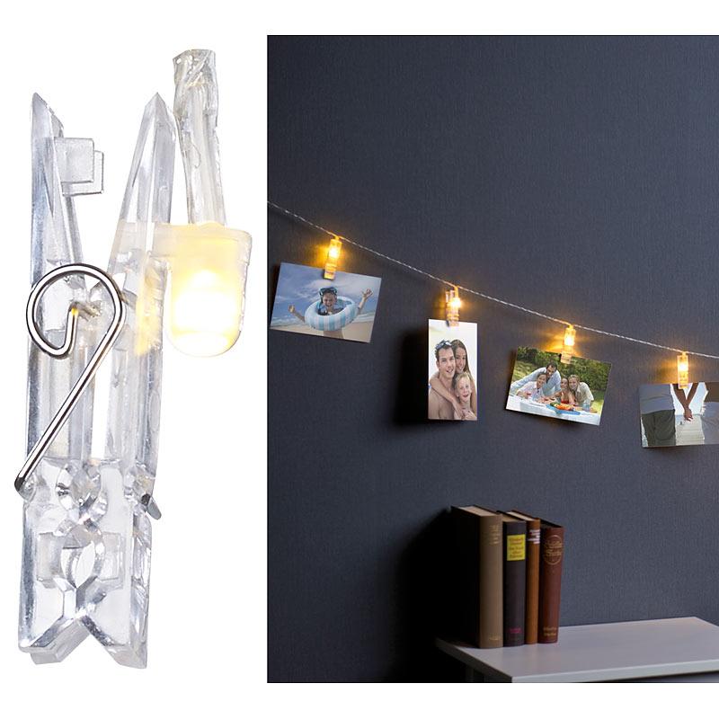 lunartec led foto clips lichterkette mit 20 klammern batteriebetrieben 6 m ebay. Black Bedroom Furniture Sets. Home Design Ideas