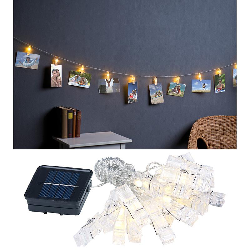 lichtketten led foto clips lichterkette mit 40 klammern solar betrieben 10 m ebay. Black Bedroom Furniture Sets. Home Design Ideas