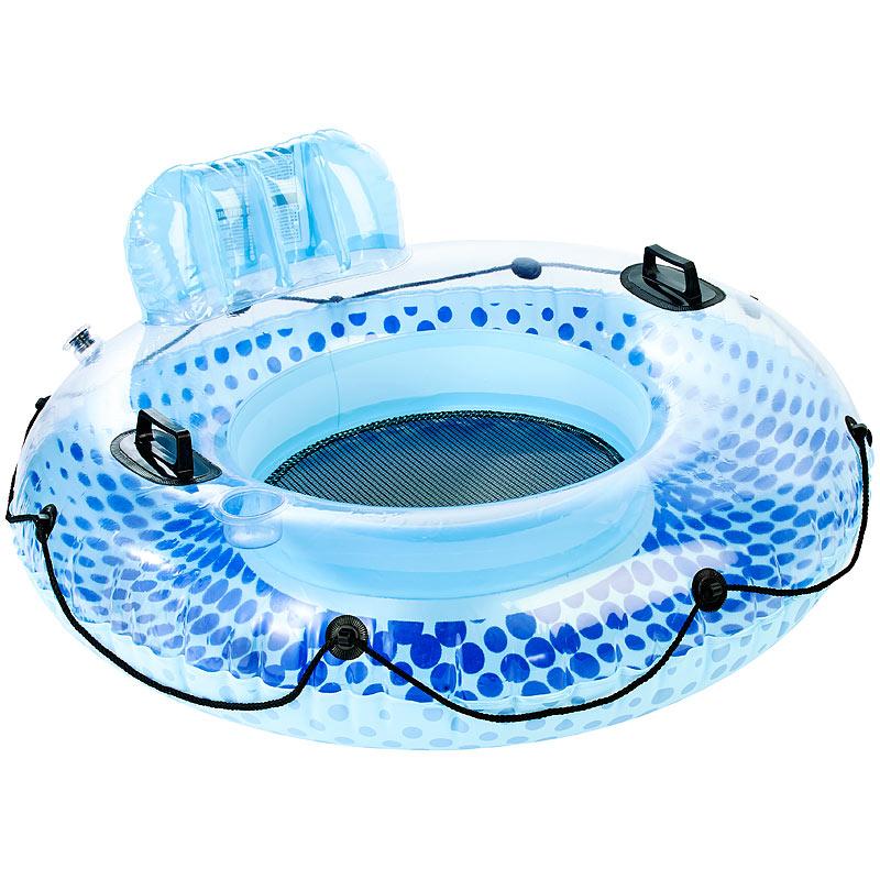 poolbar aufblasbarer schwimmring mit r ckenlehne und getr nkehalter ebay. Black Bedroom Furniture Sets. Home Design Ideas
