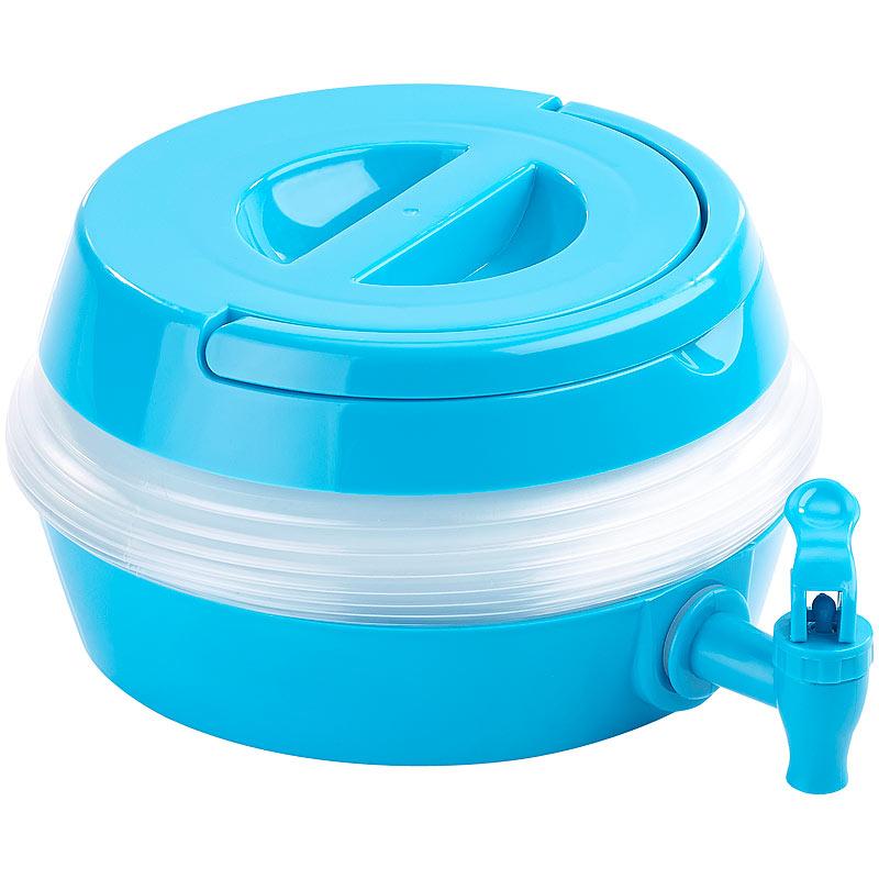 Auslaufhahn Ständer PEARL Faltbares Fässchen blau//transparent 3,5 Liter