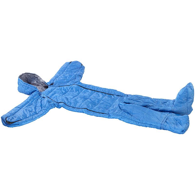 semptec schlafsack f r erwachsen mit armen beinen gr e m bis 180 cm blau ebay. Black Bedroom Furniture Sets. Home Design Ideas