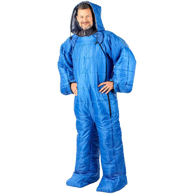 semptec schlafsack f r erwachsene mit armen beinen xl bis 205 cm blau 4022107273558 ebay. Black Bedroom Furniture Sets. Home Design Ideas