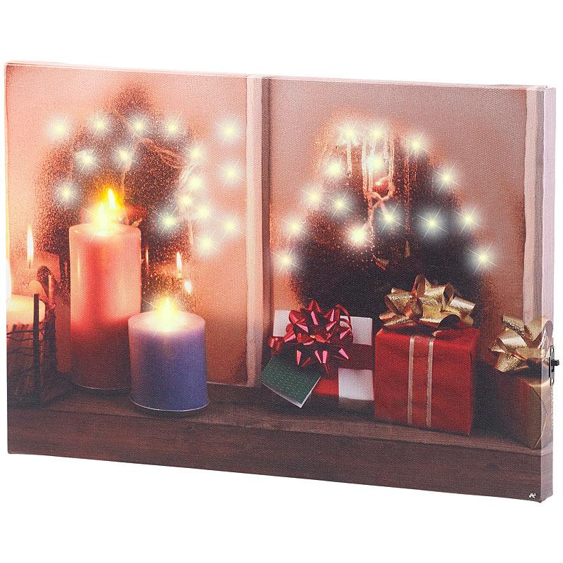 infactory wandbild weihnachtliches fenster mit led beleuchtung 30 x 20 cm ebay. Black Bedroom Furniture Sets. Home Design Ideas