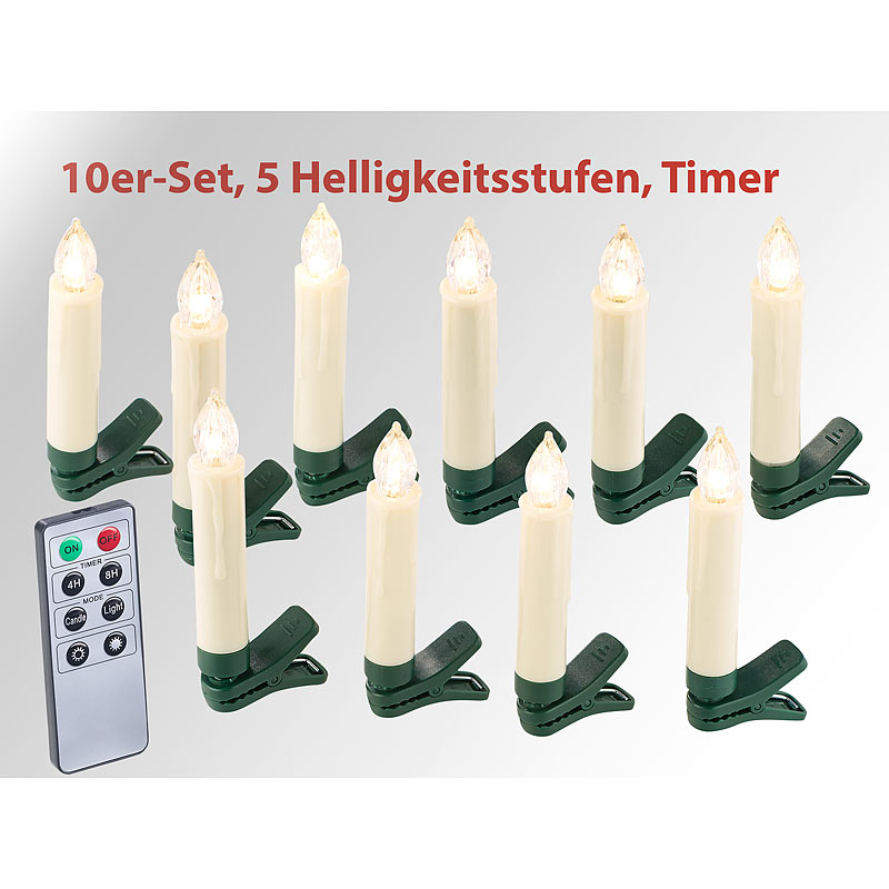 lunartec 20er set led weihnachtsbaum kerzen mit ir fernbedienung timer wei ebay. Black Bedroom Furniture Sets. Home Design Ideas