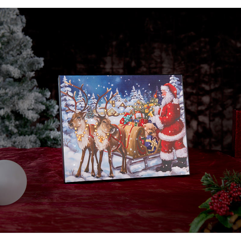 Weihnachtsbilder Mit Led.Details Zu Led Weihnachtsbilder Led Bild Weihnachtsmann Mit Rentierschlitten 28 X 23 Cm