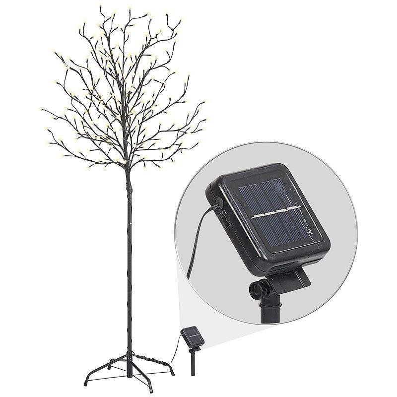 Lunartec LED Baum: XL-Solar-LED-Lichterbaum mit 200 beleuchteten Knospen 150cm Solar LED Baum IP44