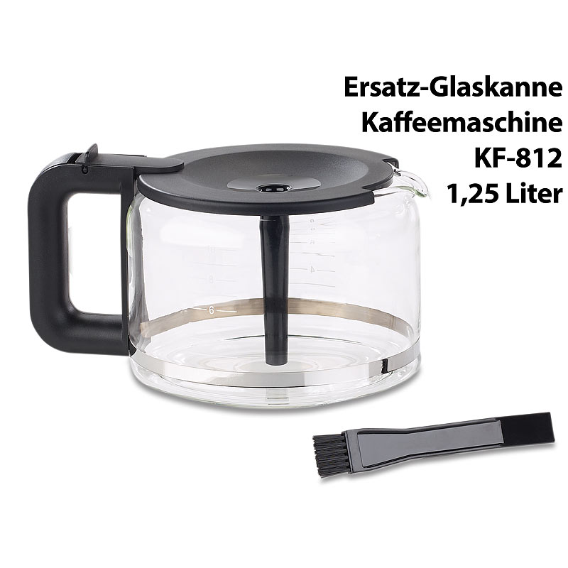 kaffee automat ersatz glaskanne f r filter kaffeemaschine kf 812 f 1 25 liter ebay. Black Bedroom Furniture Sets. Home Design Ideas