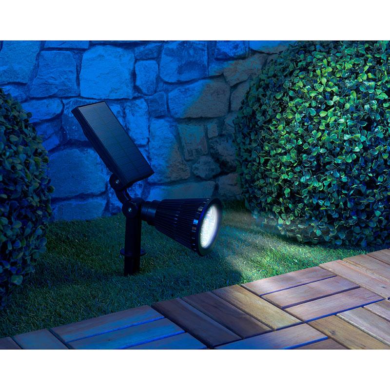 luminea solar led spot mit erdspie f r garten co 200 lumen 1 5 watt ip44 ebay. Black Bedroom Furniture Sets. Home Design Ideas