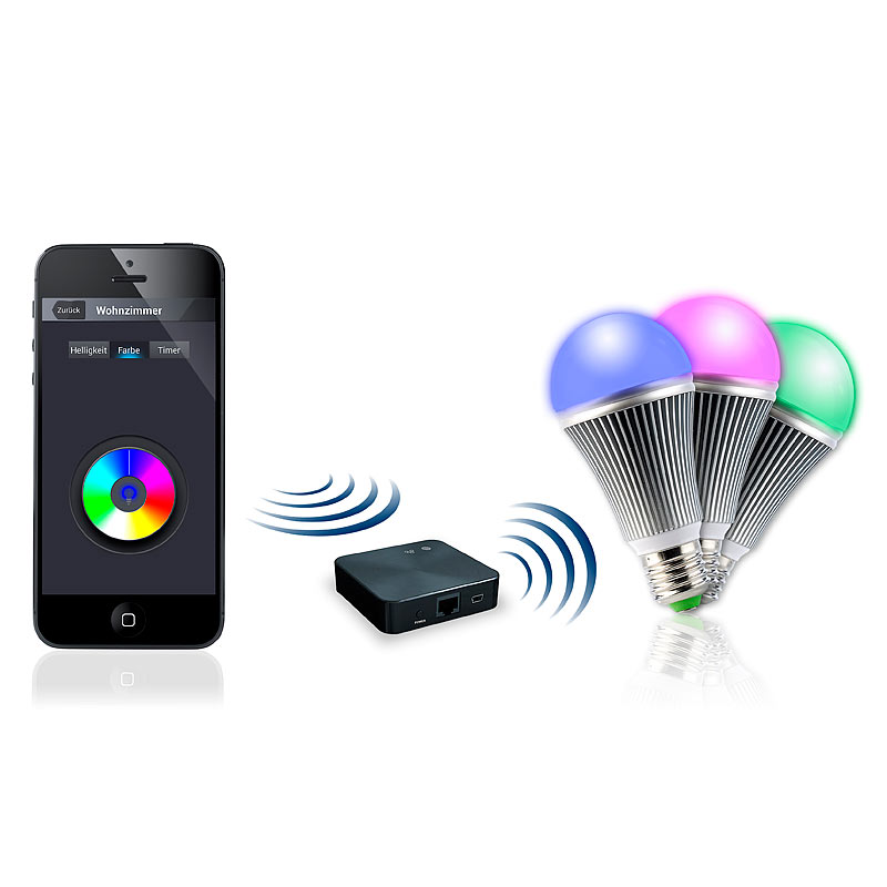 wi fi lampe wifi beleuchtungs system farbe inkl 3 led lampen e27 ebay. Black Bedroom Furniture Sets. Home Design Ideas