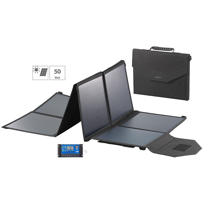 revolt faltbares solarpanel usb laderegler 8 monokrist solarzellen 100 w ebay. Black Bedroom Furniture Sets. Home Design Ideas