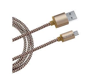 Anti-Bruch Daten- & Ladekabel Gold Micro-USB für Tablet Smartphone PS4