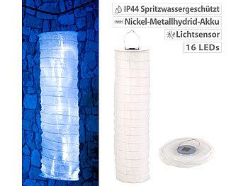 Solar-Lampionschlauch mit 16 LEDs, Dämmerungs-Sensor, IP44, kaltweiß