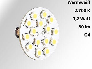 LED-Stiftsockellampe G4 (12V), 15 SMD LEDs warmweiß, horizontal, 120°