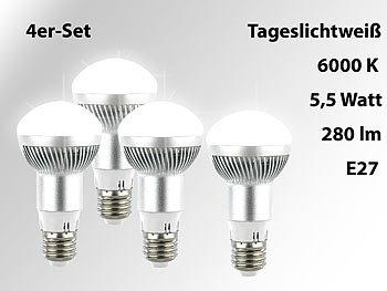 LED-Energiespar-Reflektorlampe E27, R63, 6000 K, 280 lm, 5,5 W,4er-Set