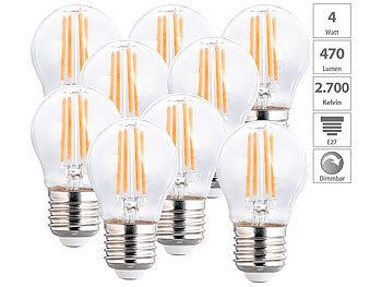 9er-Set LED-Filament-Lampen, G45, E27, 470 lm, 4 W, 2700 K, dimmbar
