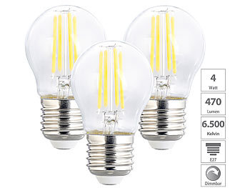LED-Filament-Lampen im 3er-Set, G45, E27, 470 lm, 4 W, 6500 K, dimmbar
