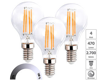 3er-Set LED-Filament-Lampen, G45, E14, 470 lm, 4 W, 2700 K, dimmbar