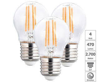 3er-Set LED-Filament-Lampen, G45, E27, 470 lm, 4 W, 2700 K, dimmbar