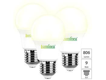 3er-Set LED-Lampen, warmweiß, 806 Lumen, E27, 9 Watt, A+, 220°