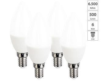 4er-Set LED-Kerzen, tageslichtweiß, 470 Lumen, E14, 6 Watt, 6500 K