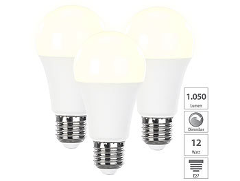 3er-Set dimmbare LED-Lampen warmweiß, 12 W, E27, 2700 K, 1050 lm