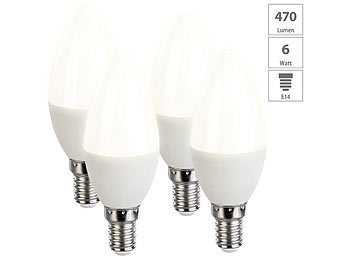 4er-Set LED-Kerzen, warmweiß, 470 Lumen, E14, A+, 6 Watt