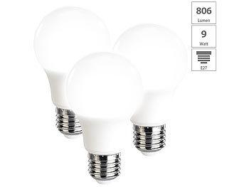 3er-Set LED-Lampen, tageslichtweiß, 806 Lumen, E27, A+, 9 Watt