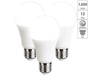 3er-Set LED-Lampen, dimmbar, tageslichtweiß, 1050 Lumen, E27, A+, 12 W